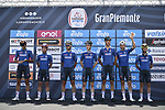 Nazionale Italiana Team at sign on before the start of the 104th edition of GranPiemonte 2020, running 187km from Santo Stefano Belbo to Barolo, Italy. 12th August 2020.<br /> Picture: LaPresse/Fabio Ferrari | Cyclefile<br /> <br /> All photos usage must carry mandatory copyright credit (© Cyclefile | LaPresse/Fabio Ferrari)