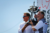 Jay Frye President of IndyCar presents NTT IndyCar Series Championship Trophy to Ted Klaus President at Honda Performance Development (HPD)