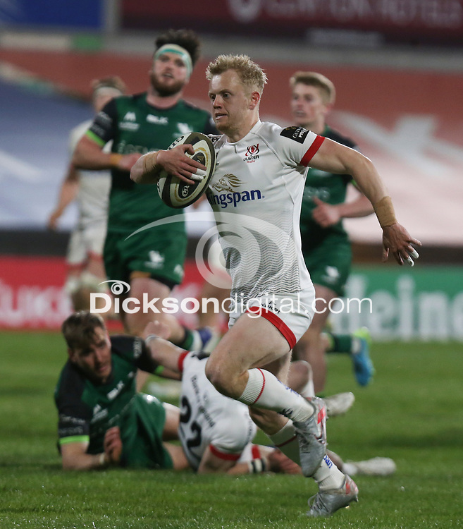 Friday 23rd April 2021; David Shanahan races clear to score for Ulster during the first round of the Guinness PRO14 Rainbow Cup between Ulster Rugby and Connacht Rugby at Kingspan Stadium, Ravenhill Park, Belfast, Northern Ireland. Photo by John Dickson/Dicksondigital
