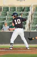 Brett Austin (10) of the Kannapolis Intimidators at bat against the Delmarva Shorebirds at CMC-NorthEast Stadium on July 2, 2014 in Kannapolis, North Carolina.  The Intimidators defeated the Shorebirds 6-4. (Brian Westerholt/Four Seam Images)