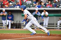 Tennessee Smokies first baseman Jared Young (19) runs to first base during a game against the Birmingham Barons at Smokies Stadium on May 15, 2019 in Kodak, Tennessee. The Smokies defeated the Barons 7-3. (Tony Farlow/Four Seam Images)
