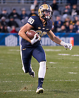Pitt wide receiver Zach Challingsworth. The Pitt Panthers football team defeated the Louisville Cardinals 45-34 on Saturday, November 21, 2015 at Heinz Field, Pittsburgh, Pennsylvania.