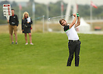 Robert Rock plays his second shot to the 1st hole during the first round of the ISPS Handa Wales Open 2013 at the Celtic Manor Resort<br /> <br /> 29.08.13<br /> <br /> ©Steve Pope-Sportingwales