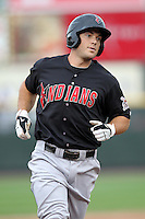 Indianapolis Indians Jeff Clement after hitting a home run during a game vs. the Rochester Red Wings at Frontier Field in Rochester, New York;  July 17, 2010.   Indianapolis defeated Rochester 10-7.  Photo By Mike Janes/Four Seam Images