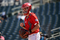 Catcher Ian Moller (42) during the Baseball Factory All-Star Classic at Dr. Pepper Ballpark on October 4, 2020 in Frisco, Texas.  Ian Moller (42), a resident of Dubuque, Iowa, attends Wahlert Catholic High School.  (Mike Augustin/Four Seam Images)
