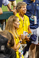 Michigan Wolverines softball coach Carol Hutchins after  Game 1 of the NCAA College World Series Finals on June 24, 2019 at TD Ameritrade Park in Omaha, Nebraska. Michigan defeated Vanderbilt 7-4. (Andrew Woolley/Four Seam Images)