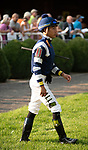 ARLINGTON HEIGHTS, IL - AUGUST 11: Jockey Jose Ortiz in the paddock prior to the running of the $1,000,000 Grade I Arlington Million at Arlington Park on August 11, 2018 in Arlington Heights, Illinois. (Photo by Carson Dennis/Eclipse Sportswire/Getty Images)