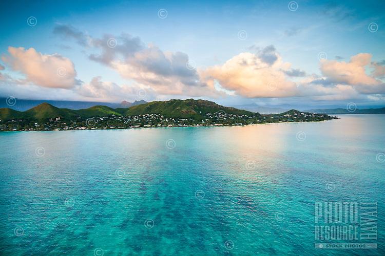 An aerial view of the Lanikai neighborhood in Kailua, Windward O'ahu.