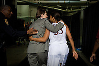 NORFOLK, VA--Freshman Amber Orrange walks arm in arm with Head Coach Tara VanDerveer after defeating West Virginia University at the Ted Constant Convocation Center at Old Dominion University for the second round of the 2012 NCAA Championships. The Cardinal advanced to the West Regionals in Fresno with a score of 72-55.