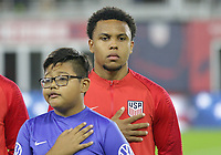 WASHINGTON, D.C. - OCTOBER 11: Weston McKennie #8 of the United States during the national anthem prior to their Nations League game versus Cuba at Audi Field, on October 11, 2019 in Washington D.C.
