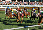 October 24, 2014: Field comes past the wire for the first time in the 9th race, Allowance $60,000 at Keeneland Racecourse.  Candice Chavez/ESW/CSM
