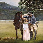 """A Confederate Civil War cavalry trooper says goodbye to his young daughter while vowing to return, 1st Virginia Cavalry. Oil on canvas, 30' x 30""""."""