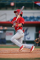 Palm Beach Cardinals shortstop Kramer Robertson (3) follows through on a swing during a game against the Florida Fire Frogs on May 1, 2018 at Osceola County Stadium in Kissimmee, Florida.  Florida defeated Palm Beach 3-2.  (Mike Janes/Four Seam Images)