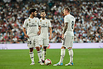 Real Madrid's (L-R) Marco Asensio, Nacho Fernandez and Toni Kroos during La Liga match between Real Madrid and Atletico de Madrid at Santiago Bernabeu Stadium in Madrid, Spain. September 29, 2018. (ALTERPHOTOS/A. Perez Meca)