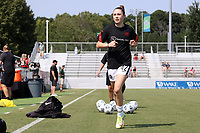 CARY, NC - SEPTEMBER 12: Olivia Moultrie #42 of the Portland Thorns FC heads to the locker room before a game between Portland Thorns FC and North Carolina Courage at Sahlen's Stadium at WakeMed Soccer Park on September 12, 2021 in Cary, North Carolina.