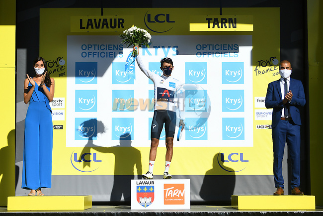 Egan Bernal (COL) Team Ineos Grenadiers retakes the White Jersey at the end of Stage 7 of Tour de France 2020, running 168km from Millau to Lavaur, France. 4th September 2020.<br /> Picture: ASO/Alex Broadway   Cyclefile<br /> All photos usage must carry mandatory copyright credit (© Cyclefile   ASO/Alex Broadway)