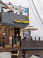 Café Travel im Daehak-No Viertel,  Seoul, Südkorea, Asien<br /> Café Travel in Daehak-No Quarter  in Seoul, South Korea, Asia