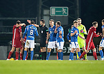 St Johnstone v Aberdeen…..24.11.19   McDiarmid Park   SPFL<br />Referee Kevin Clancy sends off Murray Davidson<br />Picture by Graeme Hart.<br />Copyright Perthshire Picture Agency<br />Tel: 01738 623350  Mobile: 07990 594431