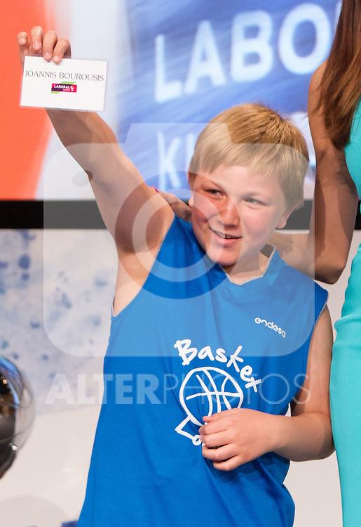 Child of Endesa, Gonzalo during presentation of the Liga Endesa playoff. May 23,2016. (ALTERPHOTOS/Rodrigo Jimenez)