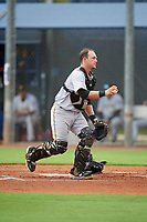 GCL Pirates catcher Dylan Shockley (36) during a Gulf Coast League game against the GCL Rays on August 7, 2019 at Charlotte Sports Park in Port Charlotte, Florida.  GCL Rays defeated the GCL Pirates 5-3 in the second game of a doubleheader.  (Mike Janes/Four Seam Images)