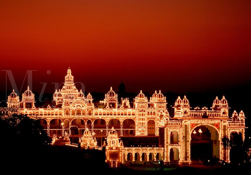 A06501 Licensed.Maharajah s Palace illuminated at night Mysore India.