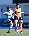 BRISBANE, AUSTRALIA - OCTOBER 30: Emily Gielnik of the Roar and Natalie Tobin of Sydney compete for the ball during the round 1 Westfield W-League match between the Brisbane Roar and Sydney FC at Spencer Park on November 5, 2016 in Brisbane, Australia. (Photo by Patrick Kearney/Brisbane Roar)