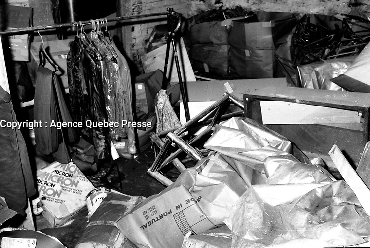July 15, 1987  File Photo - Aftermath the day after  a flash flood in Montreal.<br /> <br />  A fierce flash flood struck Montreal on July 14, 1987. As severe thunder storms and intense rainfall deluged the city, drainage systems were unable to accommodate the massive runoff. Major expressways were flooded with over 3 metres of water, requiring that people be rescued from their cars. The public transportation system was in chaos. Backed up sewers flooded houses and businesses, and thousands were without electricity.<br /> <br /> Montreal had been experiencing a heat wave when on July 14, thunder storms dumped in excess of 100 millimetres (mm) of rain. A recording station at McGill University measured 86 mm of rain in a one-hour period. Rainfalls measuring 100 mm at Parc Lafontaine, 92 mm at the Botanical Gardens, and 99 mm at Dorval Airport were also recorded. Accompanying the thunderstorms were tremendous winds that uprooted large trees and toppled hydro lines.