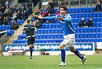 St Johnstone v Inverness Caley Thistle....07.04.12   SPL.Fran Sandaza appeals for a penalty after being barged over in the box by Roman Golobart but no penalty was awarded..Picture by Graeme Hart..Copyright Perthshire Picture Agency.Tel: 01738 623350  Mobile: 07990 594431