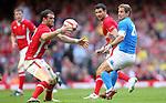 Jamie Roberts intercepts Giulio Toniolatti pass..2012 RBS 6 Nations.Wales v Italy.Millennium Stadium..10.03.12.Credit: STEVE POPE-Sportingwales