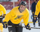 Clayton Jardine (Merrimack - 21) -  - The participating teams in Hockey East's first doubleheader during Frozen Fenway practiced on January 3, 2014 at Fenway Park in Boston, Massachusetts.