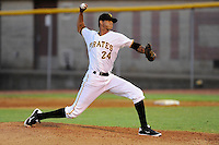 Starting pitcher Dan Urbina (24) of the Bristol Pirates delivers a pitch in a game against the Greeneville Astros on Saturday, July 26, 2014, at DeVault Memorial Stadium in Bristol, Virginia. Greeneville won, 4-0 in Game 2 of a doubleheader. (Tom Priddy/Four Seam Images)
