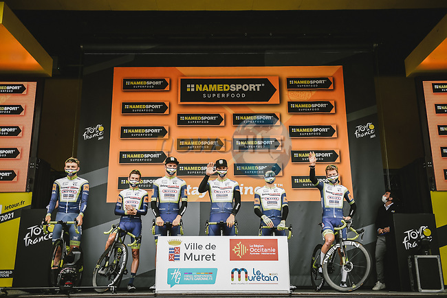 Intermarché-Wanty-Gobert Matériaux best team from yesterday's stage at sign on before Stage 17 of the 2021 Tour de France, running 178.4km from Muret to Saint-Lary-Soulan Col du Portet, France. 14th July 2021.  <br /> Picture: A.S.O./Pauline Ballet   Cyclefile<br /> <br /> All photos usage must carry mandatory copyright credit (© Cyclefile   A.S.O./Pauline Ballet)