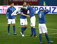 Footbal Soccer: FIFA World Cup Qatar 2022 Qualification, Italy - Northern Ireland, Ennio Tardini stadium, Parma, March 26, 2021.<br /> Italy's players celebrate after winning 2-0 the FIFA World Cup Qatar 2022 qualification, football match between Italy and Northern Ireland, at Ennio Tardini stadium in Parma on March 26, 2021.<br /> UPDATE IMAGES PRESS/Isabella Bonotto