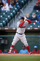 Boston Red Sox outfielder Brock Holt (60) at bat while on rehab assignment with the Pawtucket Red Sox during a game against the Buffalo Bisons on May 19, 2017 at Coca-Cola Field in Buffalo, New York.  Buffalo defeated Pawtucket 7-5 in thirteen innings.  (Mike Janes/Four Seam Images)