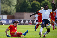 3rd September 2021; Newport, Wales:  George Abbott 6 Wales and Michael Olakigbe during the U18 International Friendly,  match between Wales and England at Newport Stadium in Newport, Wales.