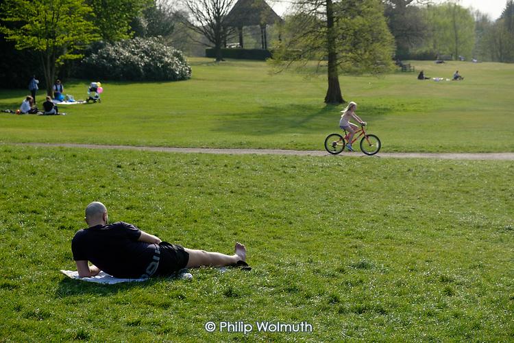 Unusually empty park: social distancing during the coronavirus pandemic, Golders Hill Park, Hampstead Heath, London