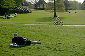 Unusually empty park: social distancing during the coronavirus pandemic, Golders Hill Park, Hampstead Heath, London