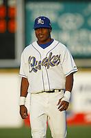 Erick Aybar of the Rancho Cucamonga Quakes before a 2004 season California League game at The Epicenter in Rancho Cucamonga, California. (Larry Goren/Four Seam Images)