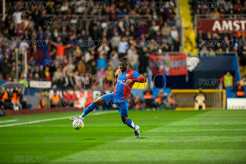VALENCIA, SPAIN - MARCH 2: Simao during BBVA League match between VLevante U.D. and R. Madrid at Ciudad de Valencia Stadium on March 2, 2015 in Valencia, Spain