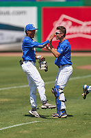 Memphis Tigers Ian Bibiloni (3) and Brennan Dubose (34) during a game against the East Carolina Pirates on May 25, 2021 at BayCare Ballpark in Clearwater, Florida.  (Mike Janes/Four Seam Images)