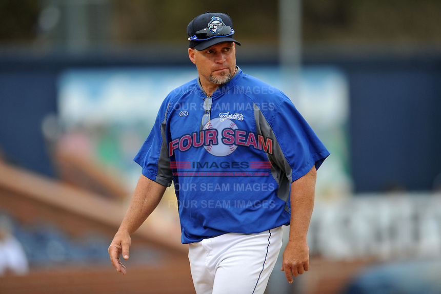 Asheville Tourists pitching coach Joey Eischen #38 during a game against the West Virginia Power at McCormick Field on April 14, 2013 in Asheville, North Carolina. The Power won the game 12-7. (Tony Farlow/Four Seam Images).