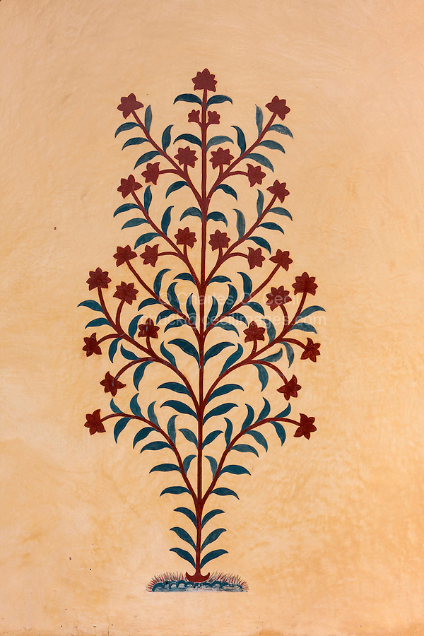 Amber (or Amer) Palace, near Jaipur, Rajasthan, India.  Floral Decoration on an Interior Wall.