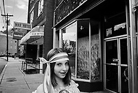"""War, WV, October 25 2008.Anna, 12, on the way to a Halloween party, she wants to be an """"actress on TV""""..""""West Virginia Southernmost city"""", War is a small coal miners' town, hit hard by the economic crisis; many of its inhabitants will vote for Obama as McCain is perceived to be the man from the oil companies, trying to destroy the coal mining industry."""