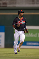 AZL Indians 1 center fielder Ronny Dominguez (24) jogs off the field between innings of an Arizona League game against the AZL White Sox at Goodyear Ballpark on June 20, 2018 in Goodyear, Arizona. AZL Indians 1 defeated AZL White Sox 8-7. (Zachary Lucy/Four Seam Images)