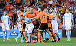 BRISBANE, AUSTRALIA - OCTOBER 30: Brisbane Roar and Melbourne City players confront each other during the round 5 Hyundai A-League match between the Brisbane Roar and Melbourne City at Suncorp Stadium on November 4, 2016 in Brisbane, Australia. (Photo by Patrick Kearney/Brisbane Roar)