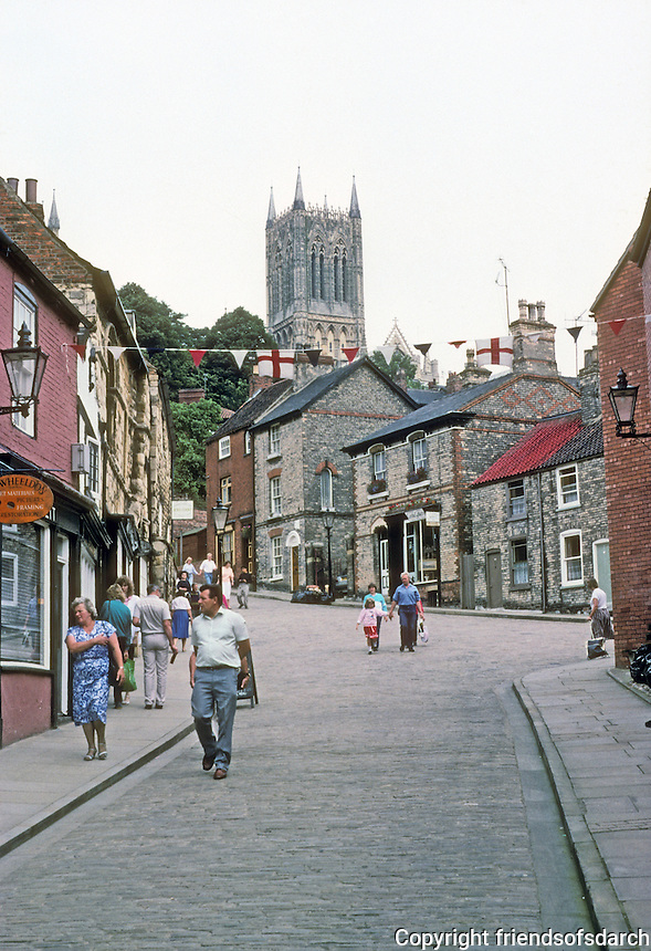 LIncoln: View of Central Tower of Cathedral up Steep Hill. The Tower, 271 ft., is the tallest in England. Photo '90.
