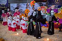Mexico, Mexico City. Day of the Dead, Dia de los Muertos diorama.
