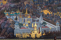 Bangkok, Thailand.  Scenes from the Mural of the Ramayana (Ramakien), Royal Grand Palace.