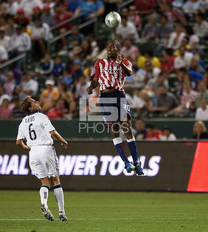 Atiba Harris heads the ball. The LA Galaxy defeated Chivas USA 1-0 at Home Depot Center stadium in Carson, California Saturday evening July 11, 2009.