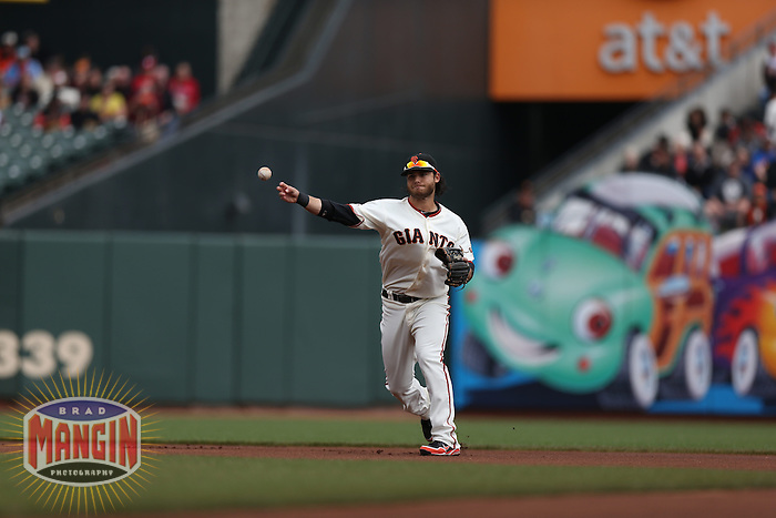 SAN FRANCISCO, CA - MAY 8:  Brandon Crawford #35 of the San Francisco Giants makes a play at shortstop against the Philadelphia Phillies during the game at AT&T Park on Wednesday, May 8, 2013 in San Francisco, California. Photo by Brad Mangin